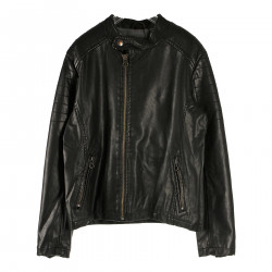 BLACK JACKET IN FAUX LEATHER