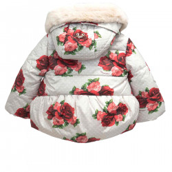 BEIGE DOWN JACKET WITH ROSE PRINTED POIS