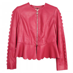 FUCSIA JACKET IN FAUX LEATHER