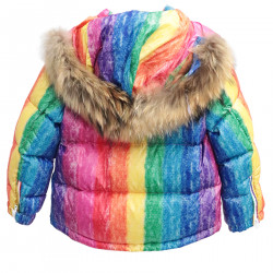 MULTICOLORED DOWN JACKET WITH HOOD