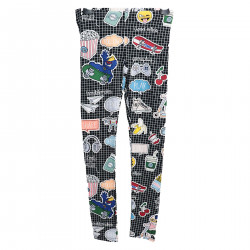 LEGGINGS NERO MULTICOLOR CON STAMPE