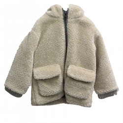 BEIGE COAT WITH HOOD IN ECO-FUR