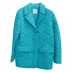 BLUE LACE-UP COAT