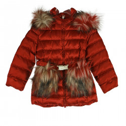 RED DOWN JACKET WITH HOOD