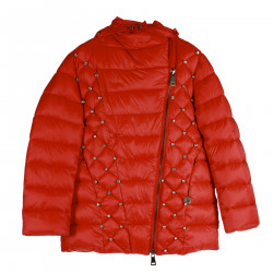 RED DOWN JACKET WITH HOOD AND STRASS