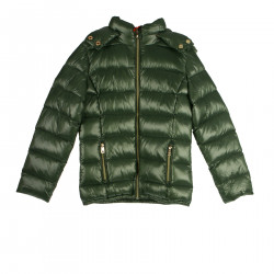 GREEN DOWN JACKET WITH HOOD