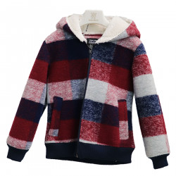 RED AND BLUE JACKET WITH HOOD