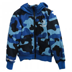 BLUE CAMOUFLAGE JACKET WITH HOOD