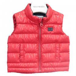 RED SMANICED DOWN JACKET WITH WRITING