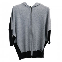 GRAY AND BLACK SWEATSHIRT WITH HOOD