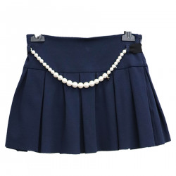 BLUE SKIRT WITH PEARLS