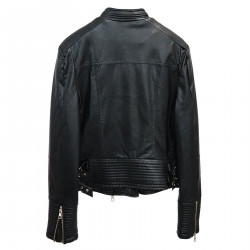 BLACK ECOLEATHER BIKER JACKET