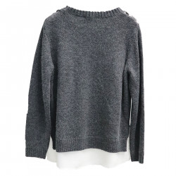 GRAY SWEATER WITH EMBROIDERY