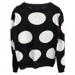 BLACK CARDIGAN WITH WHITE POIS