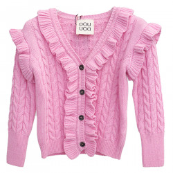 PINK CARDIGAN WITH ROUCHES
