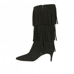 BLACK BOOT WITH FRINGES