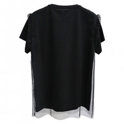 BLACK T SHIRT WITH SEQUINS
