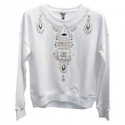 WHITE SWEATSHIRT WITH EMBROIDERY
