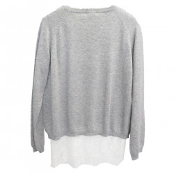 GRAY SWEATER WITH LACE T SHIRT