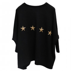 BLACK SWEATER WITH STARS