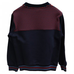 BLUE AND RED SWEATSHIRT WITH APPLICATION