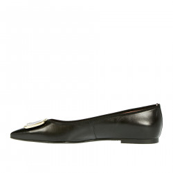 BLACK LEATHER FLAT SHOE
