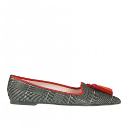 GREY AND BLACK PIED DE POULE FLAT SHOE