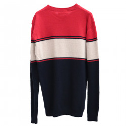 RED BLUE AND BEIGE SWEATER