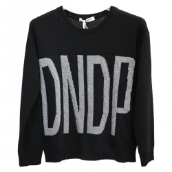 BLACK SWEATER WITH GRAY WRITING
