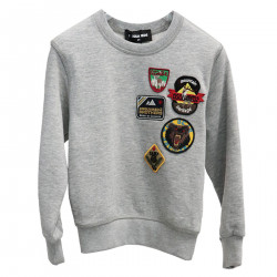 GRAY SWEATSHIRT WITH PATCHES