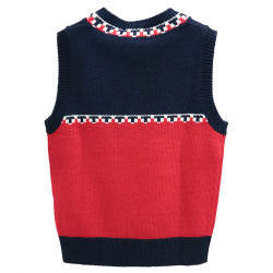 BLUE AND RED VEST WITH PRINT