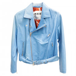 LIGHT BLUE LEATHER JACKET