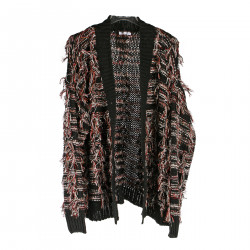 BLACK CARDIGAN WITH MULTICOLOR FRINGES
