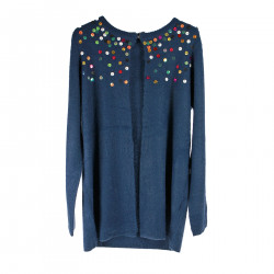 BLUE CARDIGAN WITH MULTICOLOR SEQUINS