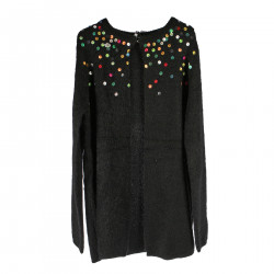 CARDIGAN NERO CON PAILLETTES MULTICOLOR