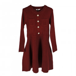 BORDEAUX DRESS WITH EMBELLISHED BUTTONS