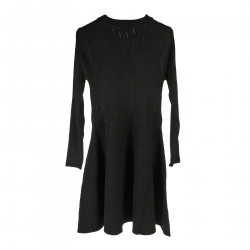 BLACK DRESS WITH EMBELLISHED BUTTONS