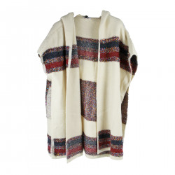 BEIGE PONCHO WITH HOOD