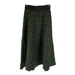 GREEN AND BLACK CHECKED SKIRT