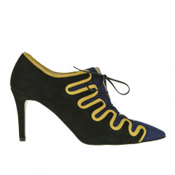 BLACK AND BLUE LACE UP SHOE WITH HEEL