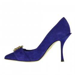 VIOLET DECOLLETE IN SUEDE WITH STRASS
