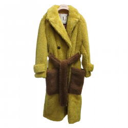 YELLOW COAT IN ECO FUR