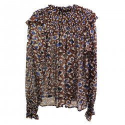 BROWN AND BLUE BLUSA