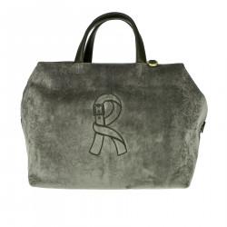 MEDIUM GRAY VELVET SHOPPING BAG