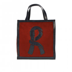 BORDEAUX AND BLUE VERTICAL SHOPPING BAG