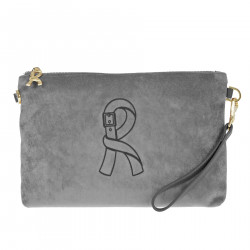 LARGE GRAY VELVET CLUTCH