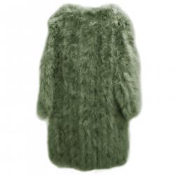 GREEN LONG FUR COAT