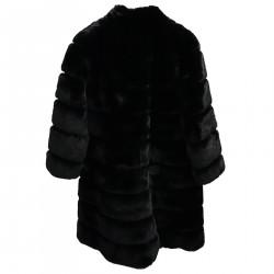 BLACK LONG ECOFUR COAT