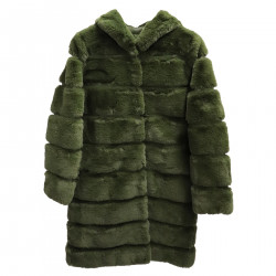 GREEN LONG ECOFUR COAT