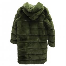 GREEN LONG ECOFUR COAT